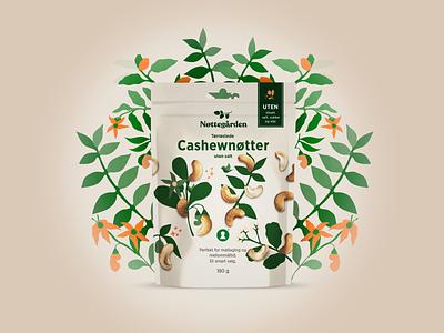 Nøttegården Cashewnøtter illustraion packaging design packaging