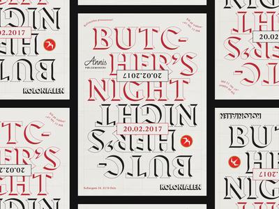 Kolonialen Butchers Night poster print typography