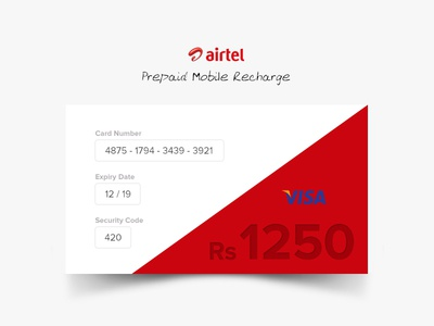 Daily UI 002 - Credit Card Checkout payment card visa red airtel checkout creditcard dailyui daily 02 002