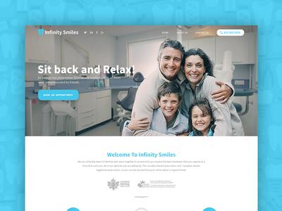 Dental Website - Home Page material flat minimal family ux ui dailyui template blue dental landing page homepage