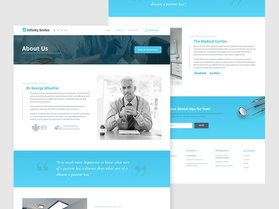 Dental Website - About Us Page ux ui template minimal material appointment doctor detail about us flat dental blue