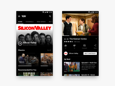Video Content / Web Series App - Visual Facelift mobile video tv show uiux ui dark black android app series shows tv