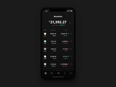 Blockfolio - Cryptocurrency Management App iphone x dark table cryptocurrency numbers mobile bitcoin crypto finance clean ios app