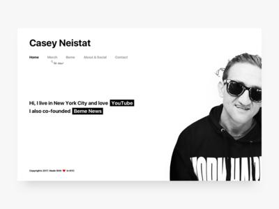 Casey Neistat - Personal Website san francisco sf helvetica personal website portfolio black minimal. white youtube vlog neistat casey
