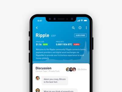Cryptocurrency Chat - Detail Page design ripple mobile animation gif currency cryptocurrency bitcoin app ios blockchain crypto