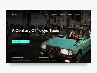 Japan Tourism - Taxi Cabs Of Tokyo design ui web clean photography flat taxi booking website car japan typography
