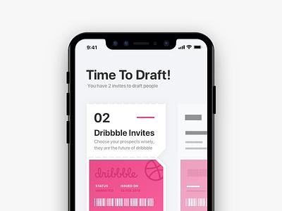 2 Dribbble Invites 2 ticket iphone ui design mobile prospect player draft invite invites dribbble