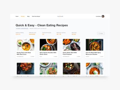 Recipe Blog - Curated List food typography helvetica bold shadows cards ux ui design minimal blog recipe