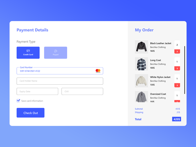 Credit Card Checkout, Daily UI 002 webdesign front-end daily 100 challenge dailyuichallenge daily ui dailyui mobile design web design user experience user interface uiux ux ui