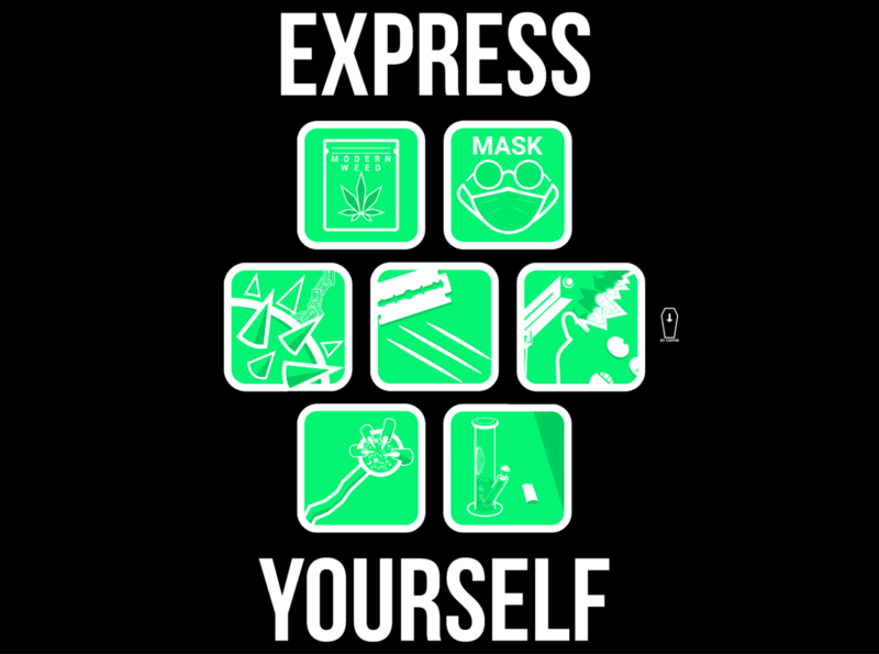 EXPRESS YOURSELF mace coke covid19 weed icon vector design illustration icons