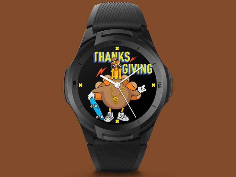 Hip hop Turkey holiday thanksgiving food illustration illustration smartwatch watchface