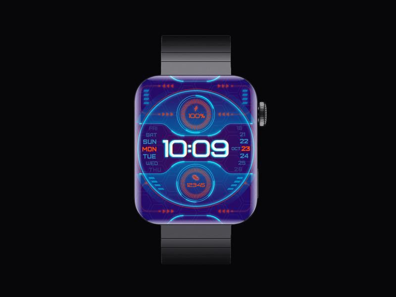 Technology neon purple number neon light cyberpunk technology illustration vector watch smartwatch watchface