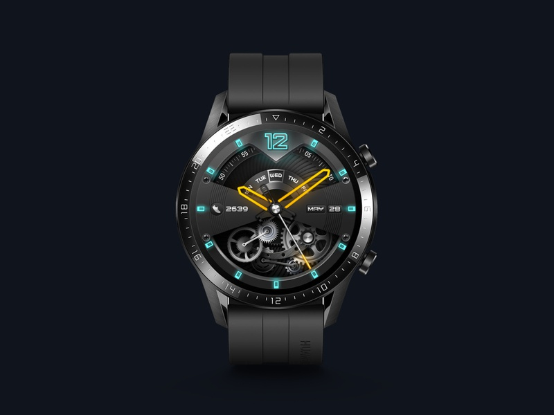 Cyberpunk Industry industry gear machine cyberpunk watch vector smartwatch watchface