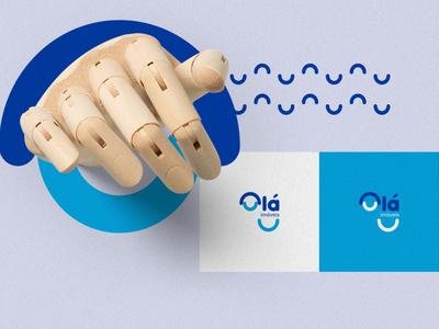 Olá imoveis grid building logo identy branding design branding brand
