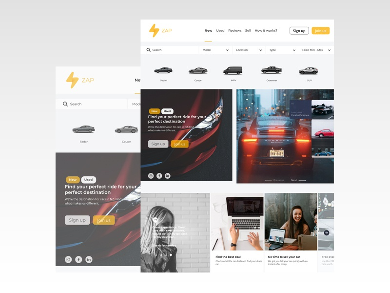 Zap-Car marketplace uxdesign web designinspiration design app typography ux ui minimal cars car