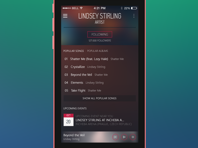 Octagon Player (iOS 7) music player octagon ios apple iphone simple flat