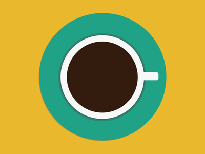 Cup of Coffee flat cup coffee green yellow brown illustrator vector