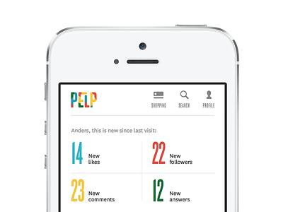 Pelp - app statistics typography design app
