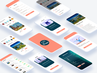 GO TRIPS Mobile Travel Application Mockup iphone apple travel android mobile mockup flat ux ui branding design illustration