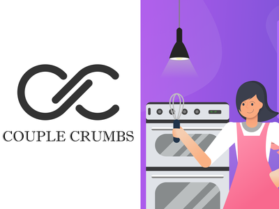 Couple Crumbs Illustration for Landing page + Logo vector chefs logo illustration uidesign website builder uiux landingpage webdesign websitestyle website branding lamp mixer oven cupcakes cookies chef bakery couplecrumbs