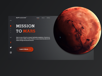 Mission to Mars - Web Design site design font creative galaxy planet space mission spacex mars ux website webdesign landingpage uiux design ui branding site