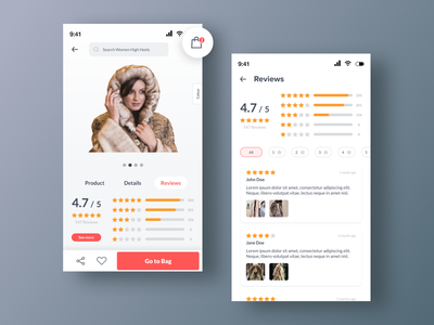Review - Online Store App favorite share product-detail rating-app ratings responsive rating onlinestore star review icon android mobile design uiux branding