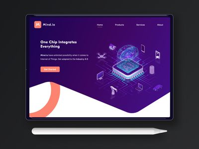 Mind.io Hero Landing Page webdesign landingpage typography design copywriting microcopy header navigation landing page hero section hero image heropage uiux ui