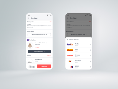Checkout Interface Inspiration - Online Store App android mobile branding ui uiux ux checkout process icon onlinestore responsive product product-detail delivery dhl checkout