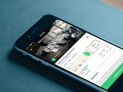 Restaurant detail iphone ios restaurant detail-page clean simple green white map