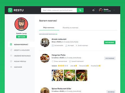 User dashboard restu clean simple green. white settings user dashboard