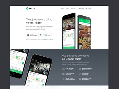 Restu application page devices map samsung iphone white clean android ios application