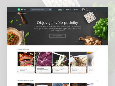 Discover page - Preview dark white simple clean food cover image discover restu
