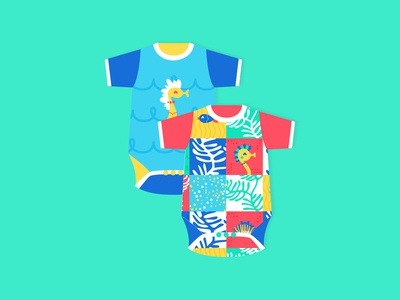 Seahorse Baby Apparel clothing apparel pattern illustration flat illustration flat design