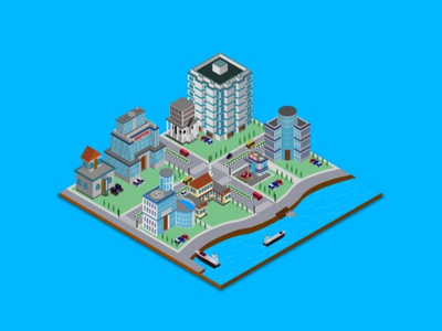 Isometric city illustration vector illustration 3d road creative isometric illustration isometric design concept car bulding vector architectural house architectural design