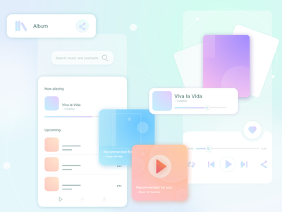 Daily UI Challenge 01 - Music Player ui challenge dailyuichallenge dailypractice glassmorphism app vector ui illustration design