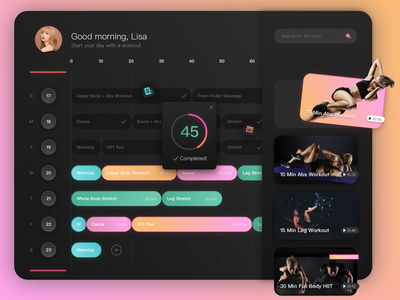 Daily UI Challenge 03 - Fitness Planner sketch schedule weekly planner training workout fitness vector ui challenge ui dailyuichallenge app design dailypractice