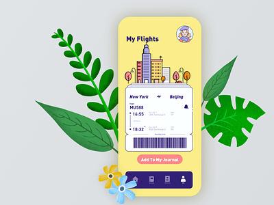 Daily UI Challenge 09 - Flight Management travel flight illustration pantone 2021 sketch vector uiux uidesign app ui challenge ui design dailyuichallenge dailypractice