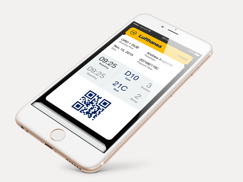 Daily UI #024 Boarding Pass iphone 6 ios 9 wallet perspective lufthansa boarding pass 024 dailyui