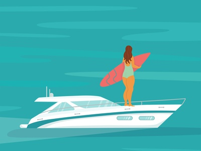 Speed yacht with body positive surfer woman in the ocean. holiday sea character surfing ocean people flat vector illustration summer yacht boat speed yacht girl women body positive surfer