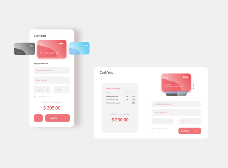 Credit Card Checkout Page - Light theme ui design web ui mobile ui lighttheme uikit minimal dailyui dailyui 002