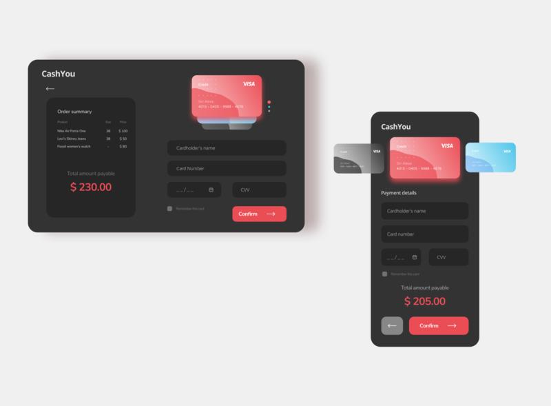 Credit Card Checkout Page - Dark Theme dark mode web ui mobile ui darktheme ui design minimal dailyui dailyui 002