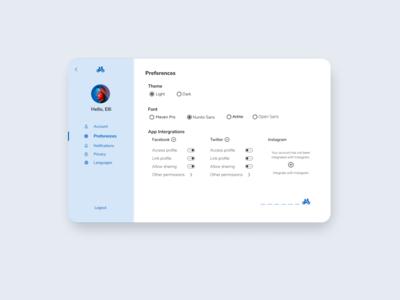 Settings Page Concept ui concept screen design settings ui settings page settings simple ui design dailyui 007 web ui dailyui minimal