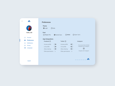 Settings Page Concept - 2 settings page settings ui settings dailyui 007 ui concept screen design simple web ui ui design dailyui minimal
