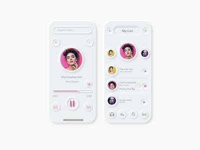 Music App UI Neumorphism Design design art figmadesign soft design music app nuemorphism design nuemorphism design creativity neumorphism neumorphic icon app vector ui design illustration