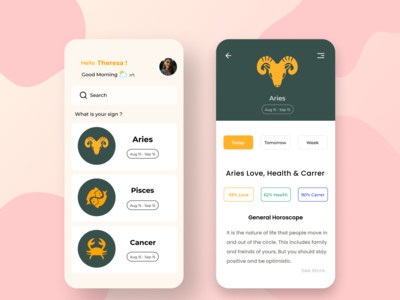 Horoscope - Astroguide Mobile App vector application zodiac typogaphy astrology app design ui mobile minimal illustration icon horoscope design colors clean app