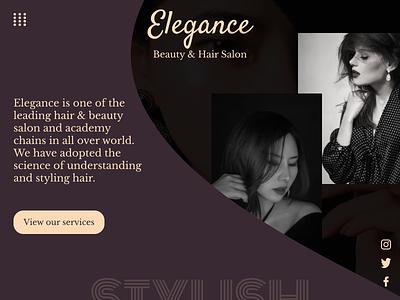 Landing page of online salon flat minimal typography ui web design figma