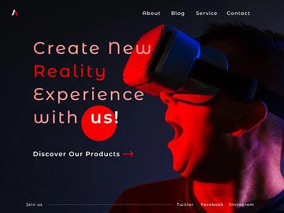 VR Headset Marketing App headset virtual reality minimal concept website typography minimalist flat web ui figma design