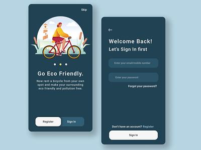 Bicycle Rental Mobile App illustration onboarding screen mobile app mobile ui concept app minimalist minimal flat ui figma design