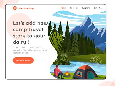 Travel camp web app vector illustration website minimalist minimal flat web ui figma design