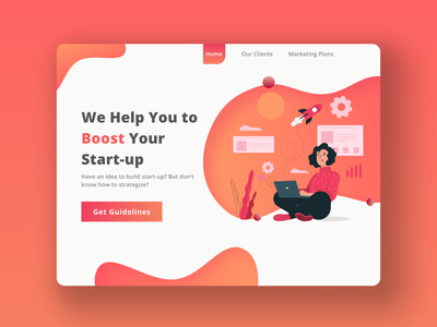 Startup Guidelines Concept webdesign marketing startup concept illustration website minimalist flat web ui figma design